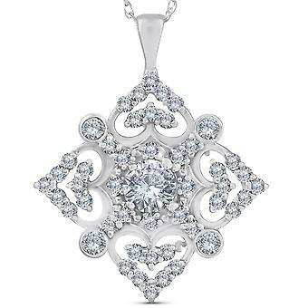 1ct Vintage Style Diamond Pendant 14K White Gold