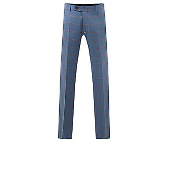 Holland & Sherry Mens Blue Suit Trousers Regular Fit 100% Wool Windowpane Check