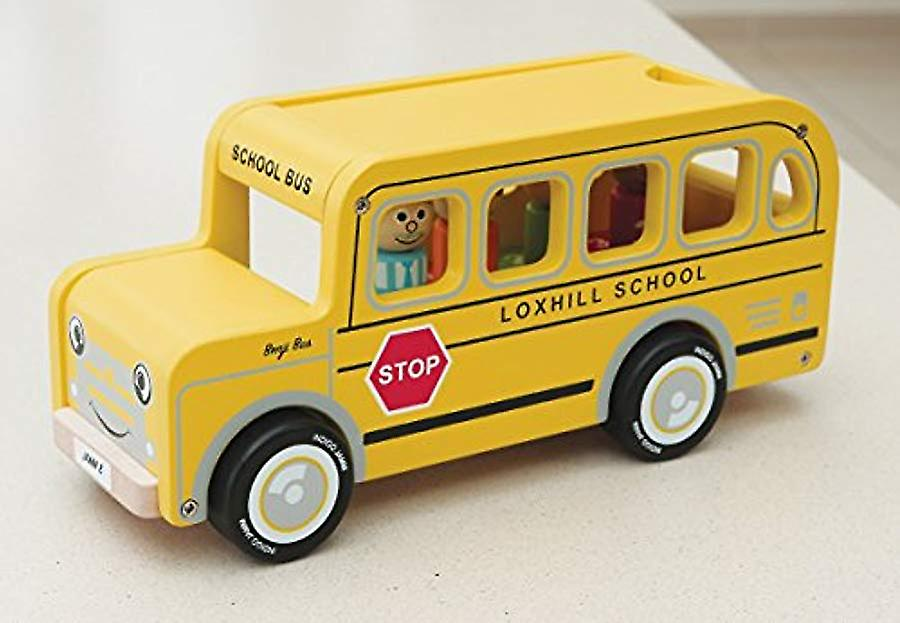 Indigo Jamm Benji Bus Wooden Toy, Yellow American School Bus with Removable Roof and Passengers