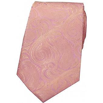 David Van Hagen Luxury Paisley Silk Tie - Pink