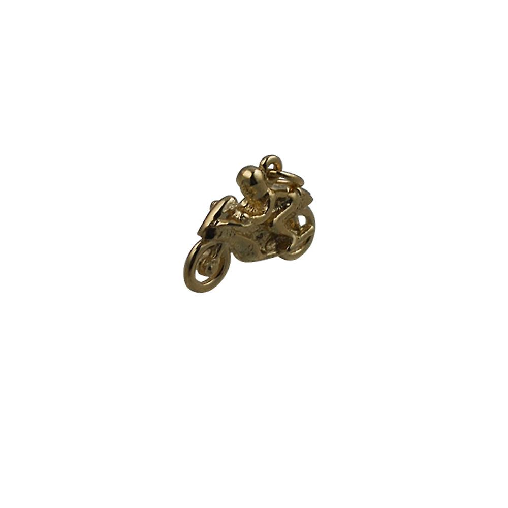 9ct Gold 20x14mm Motorbike and Rider Pendant or Charm