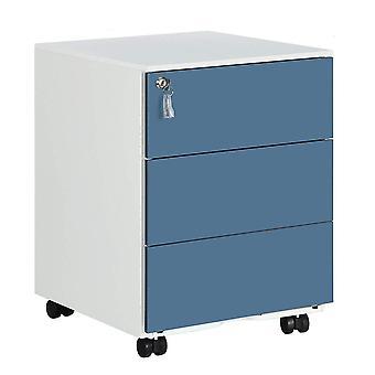 Kovová zásuvná jednotka s uzamykatelnou zásuvkou zásuvky-3-černá nebo modrá/bílá