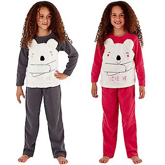 Selena Girl Junior Kids CiCi Bear Love Me Fleece Loungewear Pjs Pyjamas Set