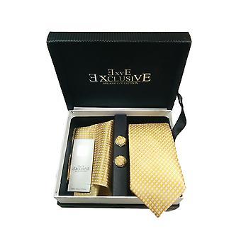 Tie, Cufflink & Hankerchief Set Exlusive Milan Collection 100% Hand Made Yellow & White Diamonds