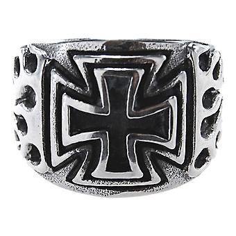 Pierścień żelazny krzyż, gr. 55-72 (edekfl) - stal nierdzewna