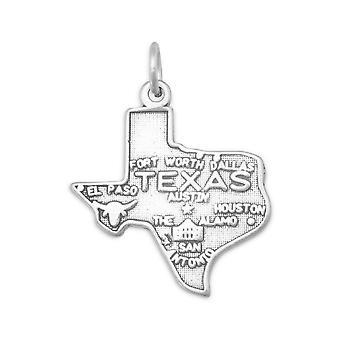 Velkommen til Lone Star State! oksidert 925 sterling sølv texas staten sjarm anheng halskjede 20mm x 22.5mm smykker gaver