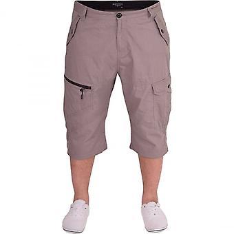 52_DNM Mens Long Cotton Cargo Combat 3/4 Length Shorts Outdoor Casual Capri Short Zip Pocket