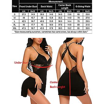 ADOME Dames Chemise Lingerie Sexy Nightie Full Slips Kant, Zwart, Maat X-Large
