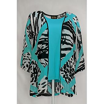 Bob Mackie Women's Top Printed Kimono w/ Scoop Neck Tank Blue A276149