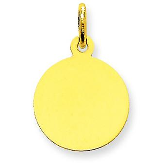 10k Yellow Gold Polished Engravable Plain .013 Gauge Circular Engraveable Disc Charm Jewelry Gifts for Women