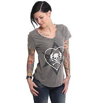 YAKUZA Women's T-Shirt Contra V Neck Dye