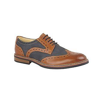 Roamers Dark Tan/navy Leather/nubuck 5 Eye Brogue Shoe Leather Lining & Sock Rubber Sole