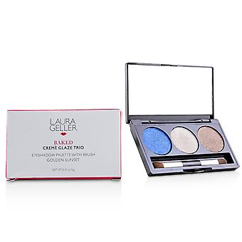 Baked cream glaze trio eyshadow palette with brush   # sandy lagoon 3g/0.1oz