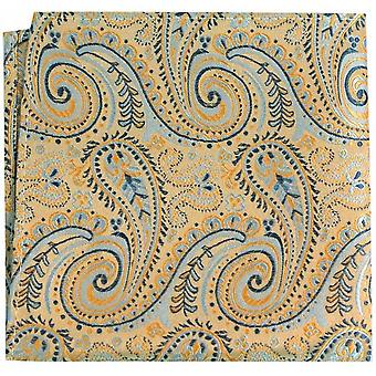 Posh and Dandy Luxury Swirly Paisley Silk Handkerchief - Gold