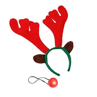 Christmas Shop Reindeer Antlers And Light Up Nose Set