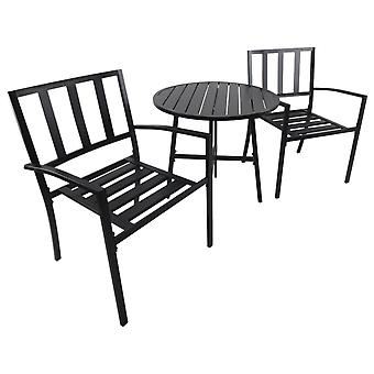 Outsunny 3pcs Garden Metal Bistro Set 1 Round Table and 2 Chairs Set Outdoor Patio Dining Furniture Black