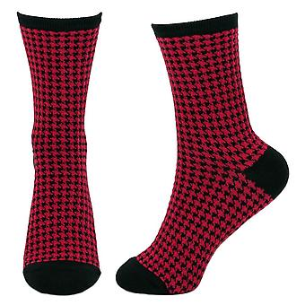 Women's Red and Black Houndstooth Crew Socks