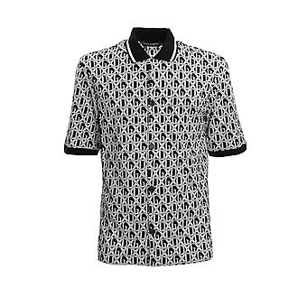 Dolce E Gabbana G5gp6tfs793hn67c Men's White/black Cotton Polo Shirt