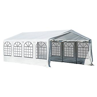 Outsunny Garden Gazebo Marquee Party Tent Wedding Portable Garage Carport shelter Car Canopy Outdoor Heavy Duty Steel Frame Waterproof Rot Resistant (8m x 4m)