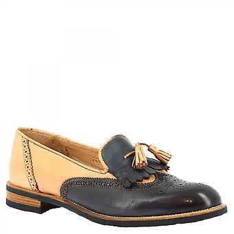 ليوناردو أحذية النساء & أبوس؛s أحذية متسكعات شرابة مصنوعة يدويا في جلد العجل الأزرق البيج