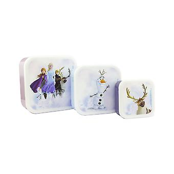 Disney Frozen 2 Snack Boxes Food Storage Set of 3 Stacking Boxes Easy Clean