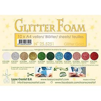 Leane Creatief Glitter Foam Sheets A4 Glitter Gold