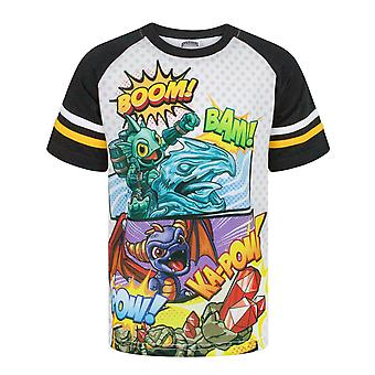 Skylanders Boom Characters Boy's Short Sleeve Raglan T-Shirt