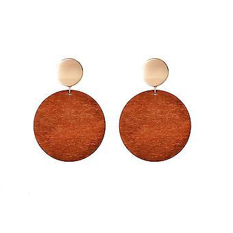 Jewelcity Sunkissed Womens/Ladies Large Wood Disc Earrings