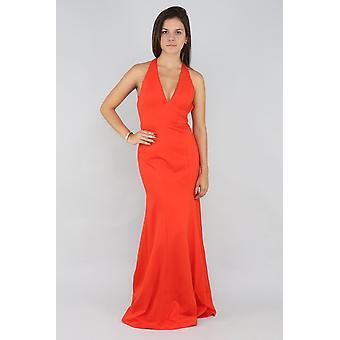 Niedrig geschnittenes orangefarbenes Kleid