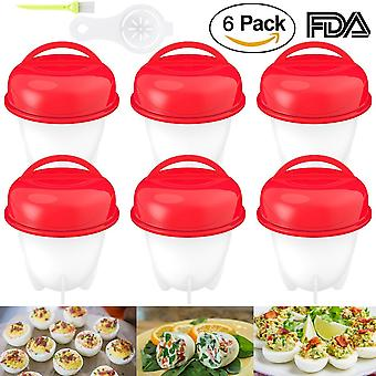 Boiled Eggs Non-Stick Silicone Container Set Of 6 - Egg Cooker Hard Boiled Eggs Without The Shell 6 Egg Cups - Red