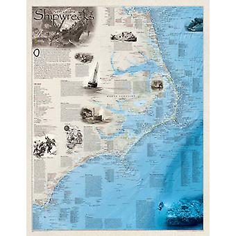 Shipwrecks Of The Outer Banks - Tubed - Wall Maps History & Nature