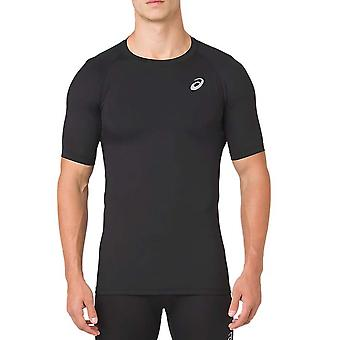 Asics Herren Kurzarm Übung Fitness Kompression Baselayer Shirt schwarz