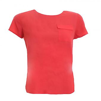 French Connection Classic Crepe Light Short Sleeve Round-Neck Womens Pocket Shirt