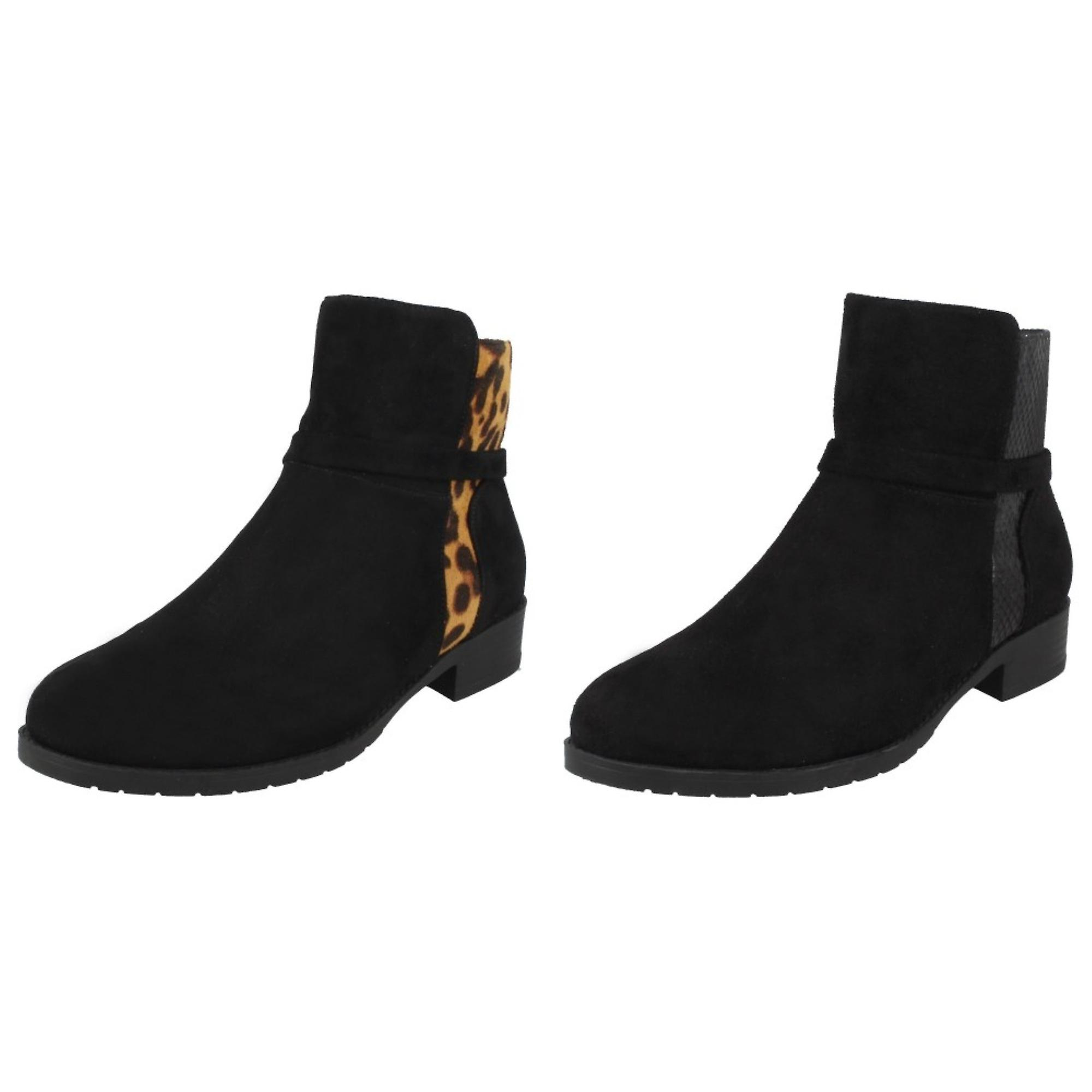 Spot On Womens/Ladies Animal Print Panel Ankle Boots vNcAr