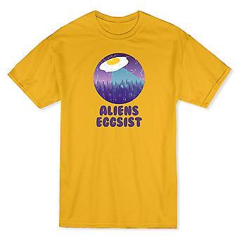 Étrangers Eggsist soucoupe volante or T-shirt homme