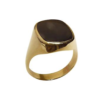 Gold black layer stone cachet ring
