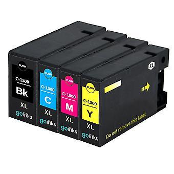 1 Set di 4 cartucce di inchiostro per sostituire Canon PGI-1500XL compatibile/non OEM da Go Inks (4 inchiostri)