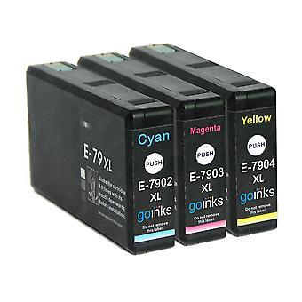1 3 tintapatronból álló készlet az Epson T7906 (79XL sorozatú) C/M/Y kompatibilis/nem OEM-készleta a Go Inks (3 tinta)
