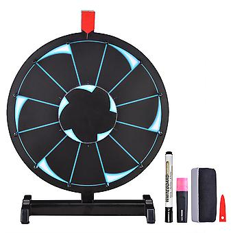 """WinSpin® 15"""" Tabletop Editable Prize Wheel 12 Slot Spinning Game with Dry Erase Tradeshow Carnival Black"""