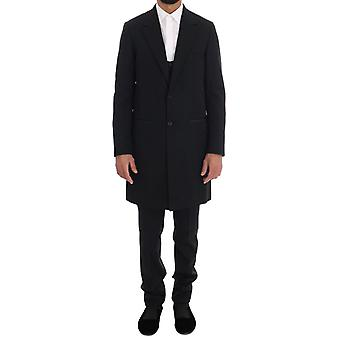 Dolce & Gabbana Black Wool Long 3 Piece Two Button Suit