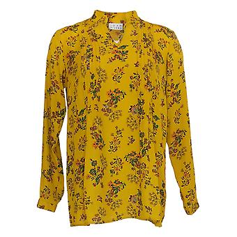 Joan Rivers Women's Printed V-Neck Pleated Blouse Gold Yellow A 347416