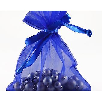 12 Large Royal Blue Organza Favour Gift Bags - 15.5cm x 22.5cm