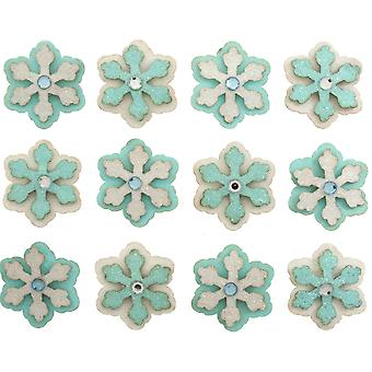 12 Glitter 3cm Christmas Snowflakes Self Adhesive Stickers para Papercrafts