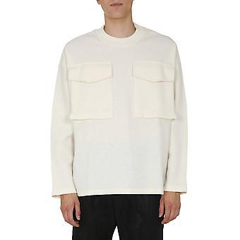 Jil Sander Jsmr707002mr217808105 Men's White Wool Sweatshirt