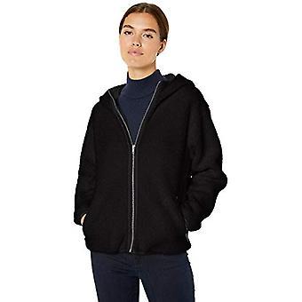 Marca - Daily Ritual Women's Teddy Bear Fleece Hooded Zip Jacket, Blac...