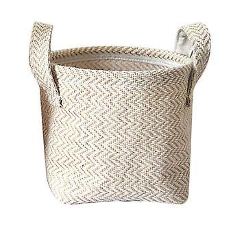 Braided Jute Cloth Storage Basket - Cotton Linen Blended Desktop Kids Laundry