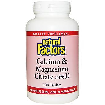 Natürliche Faktoren, Calcium & Magnesiumcitrat mit D, 180 Tabletten