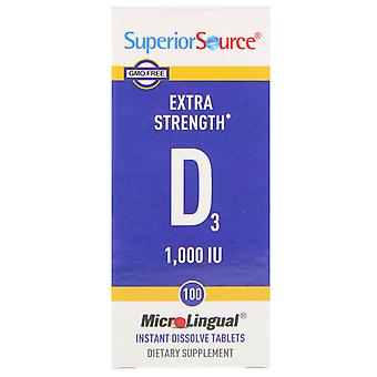 Superieure bron, extra sterkte vitamine D3, 1.000 IE, 100 MicroLingual Instant D