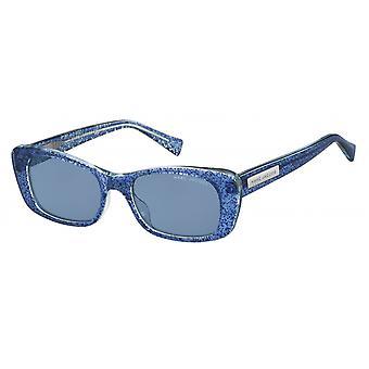 Sunglasses women rectangular blue glitter