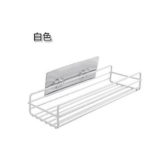 Bathroom Wall-Mounted Seamless Storage Rack 27.5x11x5.5cm White